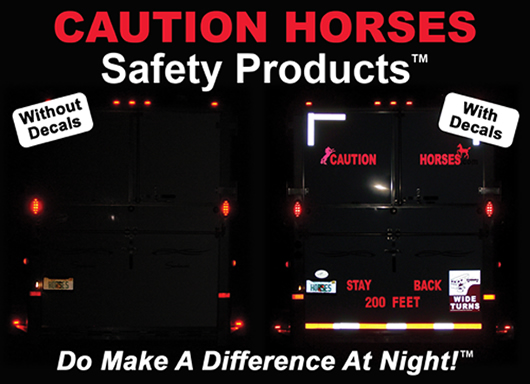 Caution horses safety products tm the official web site for reflective signs decals for your horse trailer start at 9 99 free shipping available